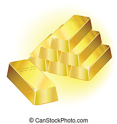 Gold bars - Shiny gold bars over a white  background