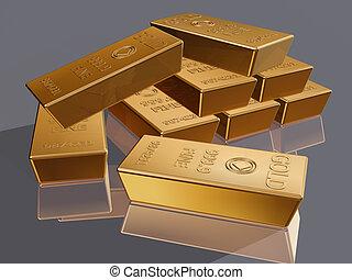 Gold bars - Illustration of a stack of gold bar reserves