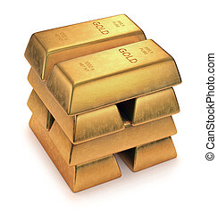 Gold Bars on white background. Clipping path included.