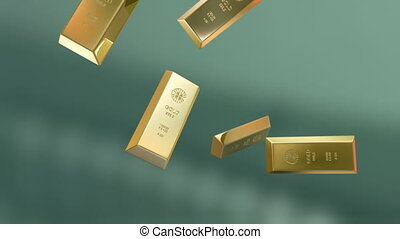 Gold bars falling down.