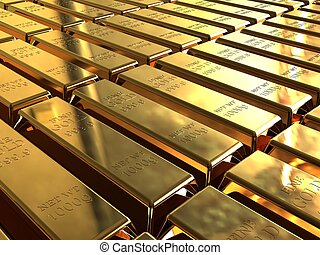 Gold bars - Gold ingots stacked in neat rows.