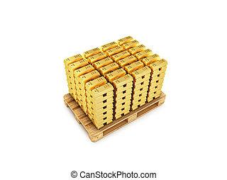 gold bars in potonda isolated on white background..3d illustration