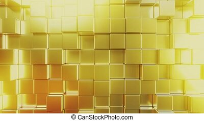 Gold bars. Loopable 3D animation - Moving gold square...
