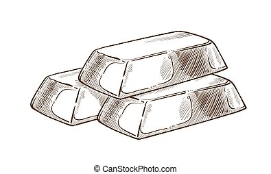Gold bars money and wealth isolated sketch precious metal -...
