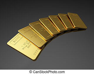 Gold bars on the dark background