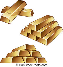 Gold bars on white background - Three groups of gold bars on...