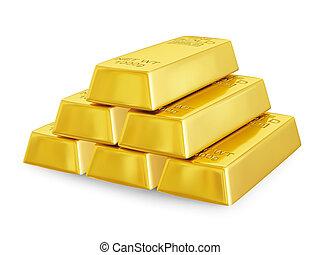 Gold bars pyramid - Gold bars bullions pyramid isolated