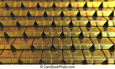 Gold bars. Realistic 3D animation - Multiple gold bullions....