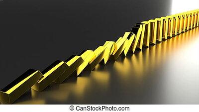 Gold bars row on golden background. 3d illustration. Business concept. Business success. Money finance wealth concept. Golden, white. 4k