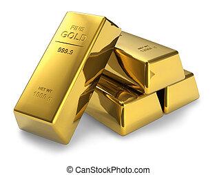 Gold bars - Set of gold bars isolated on white background