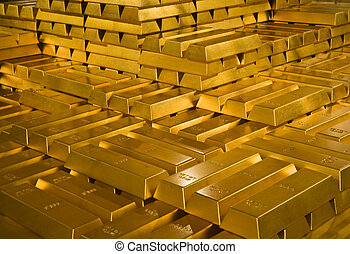 Gold bars - Stack of gold bullions in Indonesian Bank