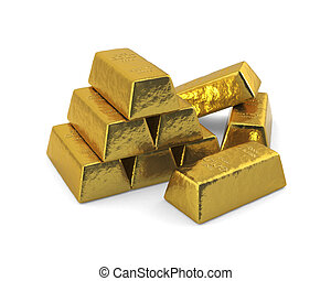Gold bars - Stacked bars of gold in front of a white...