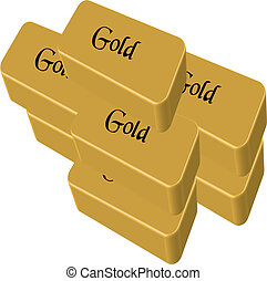 Gold bars stacked vector illustration