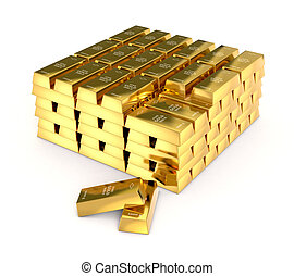 gold bars - one stack of gold bars on white background (3d...