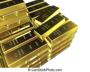 gold bars - 3d rendered illustration of stapeled gold bars