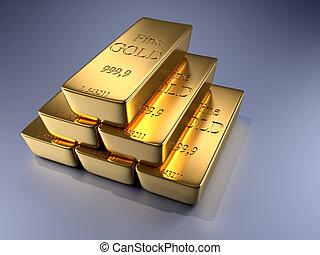 Gold bars - 3d rendered illustration of gold bars stack