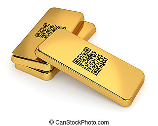 Gold Bars - Three gold bars with QR code isolated on white...