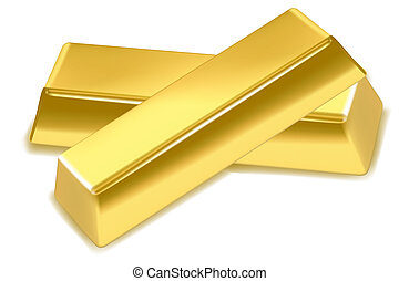 gold bars - illustration of gold bars on isolated background