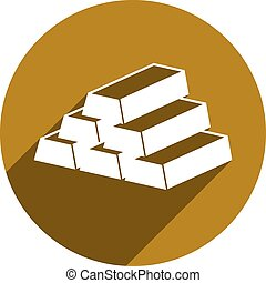 Gold bars vector icon isolated.