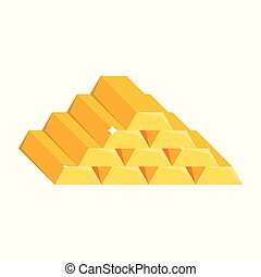 Gold bars vector illustration isolated on white background