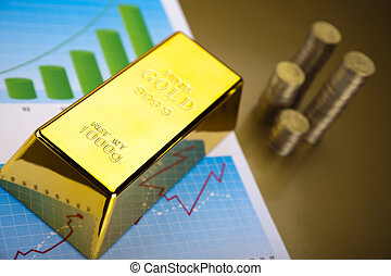 Gold bars with a linear graph