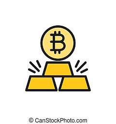 Gold bars with bitcoin, cryptocurrency flat color icon.