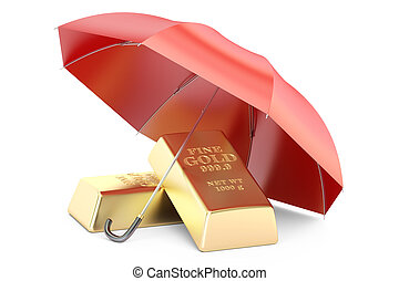gold bars with umbrella, financial insurance and business stability concept. 3D rendering