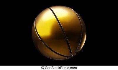 Gold basketball ball on black background.