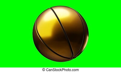 Gold basketball ball on green chroma key.