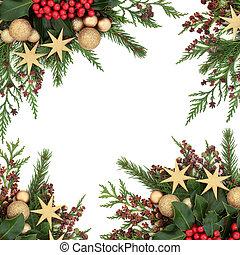 Gold Bauble Christmas Border