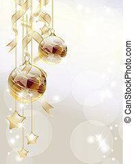Gold baubles - Elegant Christmas background with golden ...