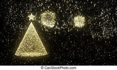 gold, baum, kiefer, firework, hintergrund, weihnachten