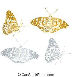 gold beautiful butterfly set