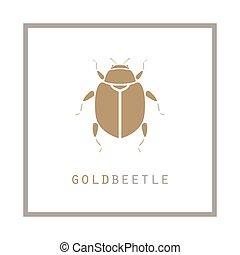 Gold beetle in a frame vector illustration emblem.
