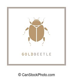 Gold beetle in a frame vector illustration emblem.
