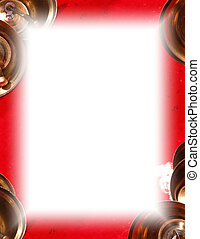 Gold Bell Frame - Christmas bells on red around white.