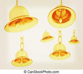 Gold bell set. 3D illustration. Vintage style.