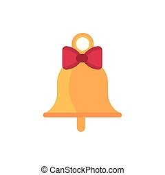 gold bell with bow decoration happy christmas icon