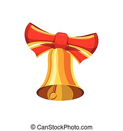 Gold bell with red bow icon, cartoon style