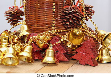 gold bells and christmas tree shaped candles
