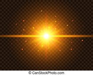 gold, bersten, effect., sparkles., stern, strahlen, sonne, blitz, hintergrund., glühen, explosion, bunte, balken, abbildung, linse, durchsichtig, licht, star., flare., vektor, spotlight., zukunftsidee