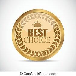 Gold Best Choice Label Vector Illustration