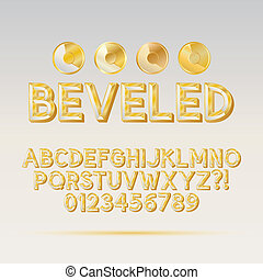 Gold Beveled Outline Font and Digit