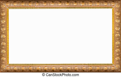 gold, bilderrahmen, freigestellt, weiß, hintergrund