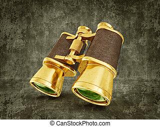binoculars - gold binoculars isolated on a dirty background