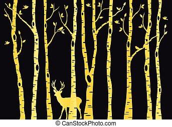 Gold birch trees with deer, vector