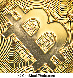 gold bitcoin - Bitcoin currency closeup financial concept