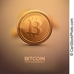 Gold Bitcoin - Gold bitcoin, cryptocurrency, eps 10