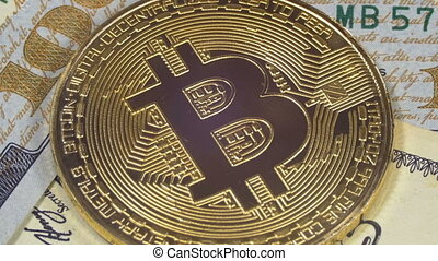 Gold Bitcoin Coin Cryptocurrency, BTC Rotate on Background...