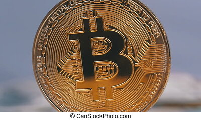 Gold Bitcoin Coin Cryptocurrency, BTC Rotate on White...